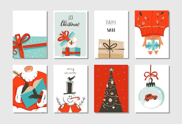 Hand getekend abstracte leuke merry christmas tijd cartoon kaarten collectie set