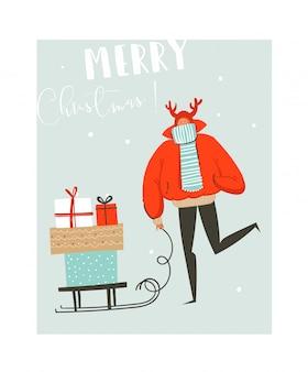 Hand getekend abstracte leuke merry christmas tijd illustratie