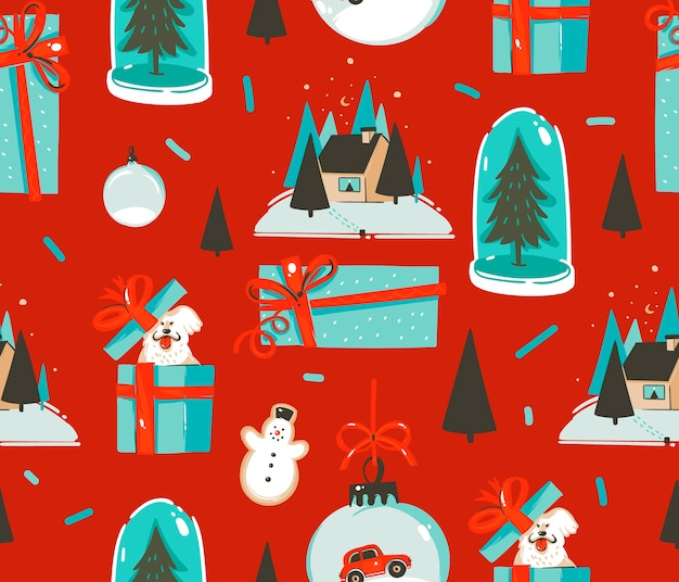 Hand getekend abstracte leuke voorraad platte prettige kerstdagen en gelukkig nieuwjaar cartoon feestelijke naadloze tijdpatroon met schattige illustraties van retro vintage speelgoed van kerstmis geïsoleerd op een achtergrond in kleur.