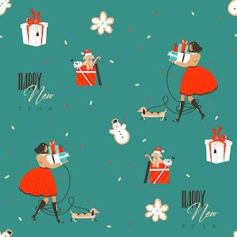 Hand getekend abstracte leuke voorraad platte prettige kerstdagen en gelukkig nieuwjaar cartoon feestelijke naadloze tijdpatroon met schattige illustraties van xmas retro geschenkdozen geïsoleerd op een achtergrond in kleur.
