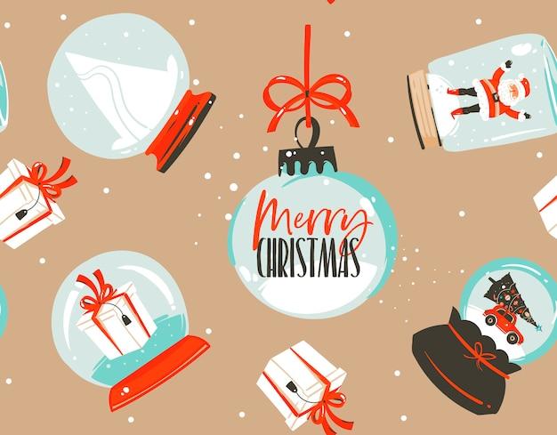 Hand getekend abstracte leuke voorraad platte prettige kerstdagen en gelukkig nieuwjaar cartoon feestelijke naadloze tijdpatroon met schattige illustraties van xmas sneeuwbol en santa geïsoleerd op een achtergrond in kleur.