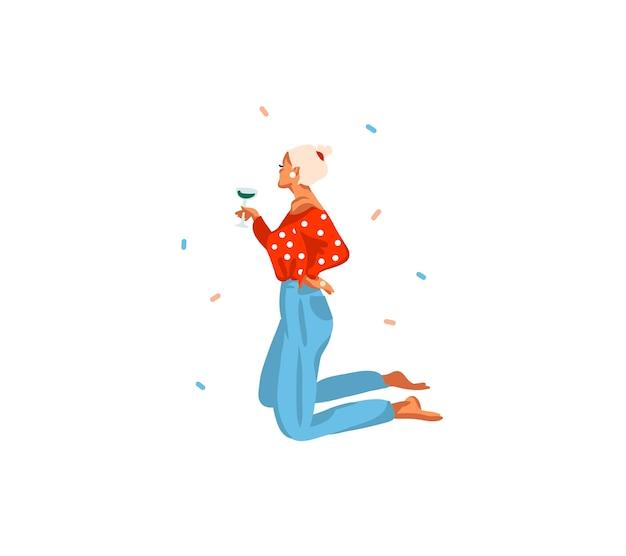 Hand getekend abstracte leuke voorraad platte prettige kerstdagen en gelukkig nieuwjaar cartoon feestelijke tijdkaart met schattige illustraties van xmas mode moderne meisje drink champagne geïsoleerd op een witte achtergrond.