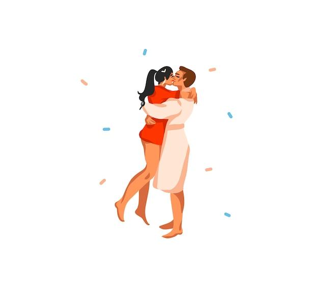 Hand getekend abstracte leuke voorraad platte prettige kerstdagen en gelukkig nieuwjaar cartoon feestelijke tijdkaart met schattige illustraties van xmas paar knuffel en kussen samen geïsoleerd op een witte achtergrond.