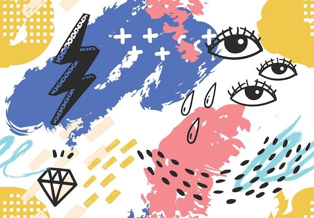 Hand getekend abstracte memphis achtergrond illustratie