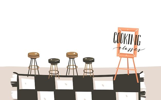 Hand getekend abstracte moderne cartoon kookles keuken interieur illustraties met kopie ruimte en handgeschreven kalligrafie kooklessen geïsoleerd op een witte achtergrond