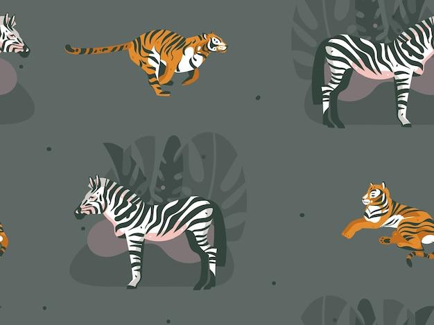 Hand getekend abstracte moderne grafische afrikaanse safari natuur decoratieve illustraties