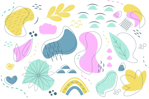 Hand getekend abstracte organische vormen achtergrond concept