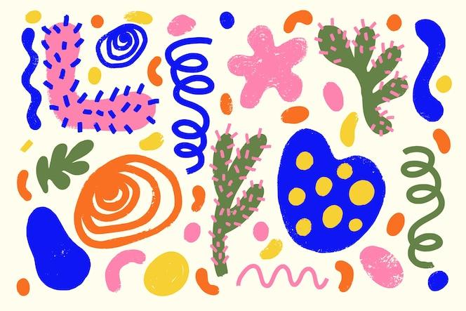 Hand getekend abstracte organische vormen achtergrond