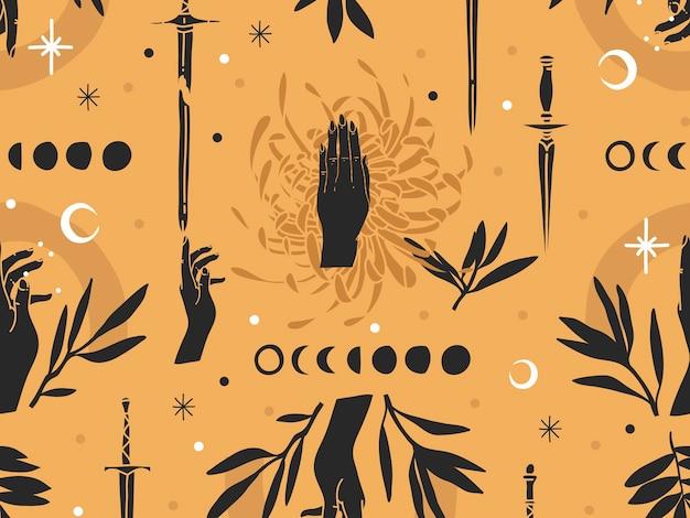 Hand getekend abstracte platte voorraad grafische pictogram illustratie schets naadloze patroon