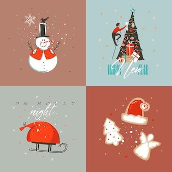 Hand getekend abstracte prettige kerstdagen en gelukkig nieuwjaar cartoon afbeelding wenskaarten collectie set met sneeuwpop, kerstboom, mensen en merry christmas-tekst geïsoleerd op gekleurde achtergrond