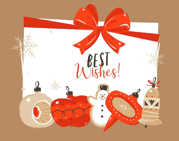 Hand getekend abstracte prettige kerstdagen en gelukkig nieuwjaar cartoon tijdillustraties