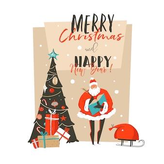 Hand getekend abstracte prettige kerstdagen en gelukkig nieuwjaar tijd cartoon afbeelding