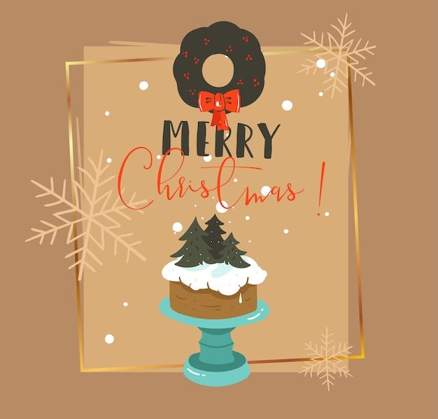 Hand getekend abstracte prettige kerstdagen en gelukkig nieuwjaar tijd retro cartoon afbeelding