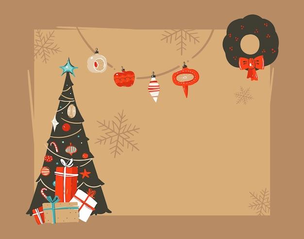 Hand getekend abstracte prettige kerstdagen en gelukkig nieuwjaar tijd vintage cartoon afbeelding