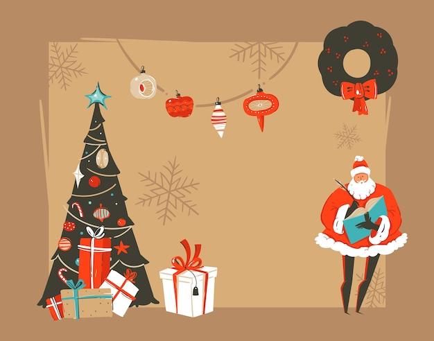 Hand getekend abstracte prettige kerstdagen en gelukkig nieuwjaar tijd vintage cartoon illustraties