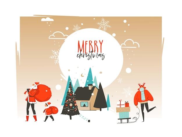 Hand getekend abstracte prettige kerstdagen en gelukkig nieuwjaar