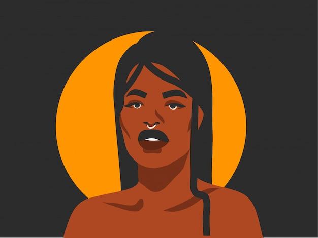 Hand getekend abstracte stock illustratie met etnische tribal vrouw en gouden volle maan, op zwarte achtergrond.