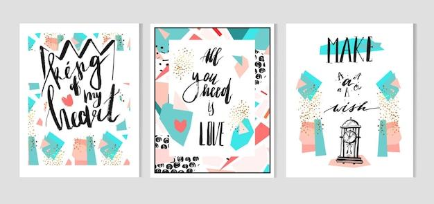 Hand getekend abstracte textuur geometrische set, kaartsjabloon met handgeschreven.