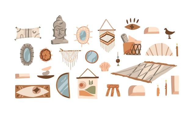 Hand getekend abstracte voorraad grafische bohemien clipart collectie set illustraties
