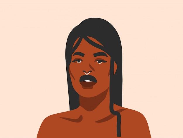 Hand getekend abstracte voorraad grafische illustratie met etnische tribale zwarte mooie vrouw en gouden volle maan in eenvoudige stijl, op witte achtergrond