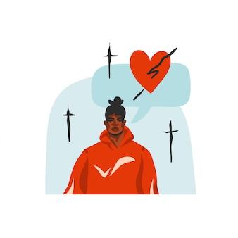 Hand getekend abstracte voorraad grafische illustratie met jonge gelukkig zwarte schoonheid man portret, in mode-outfit en communicatie specch bubble chat op witte achtergrond.