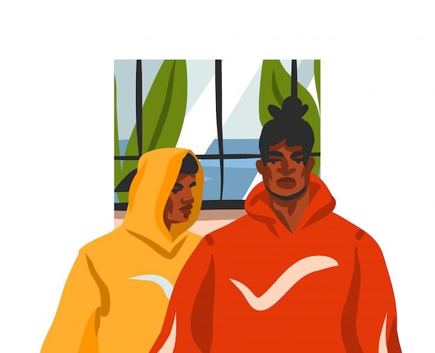 Hand getekend abstracte voorraad grafische illustratie met jonge gelukkig zwarte schoonheid mannen vrienden samen, in mode-outfit op witte achtergrond