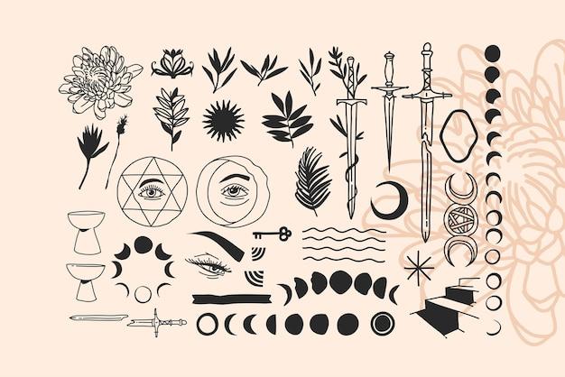 Hand getekend abstracte voorraad platte grafische illustraties
