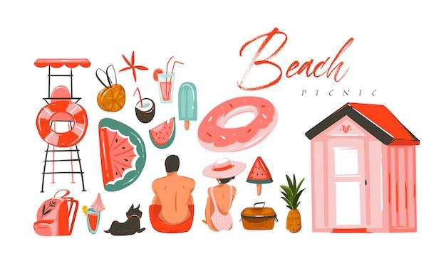 Hand getekend abstracte zomertijd illustratie