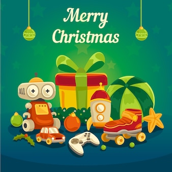 Hand getekend achtergrond kerstmisspeelgoed