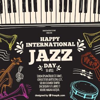 Hand getekend achtergrond voor de internationale jazz-dag
