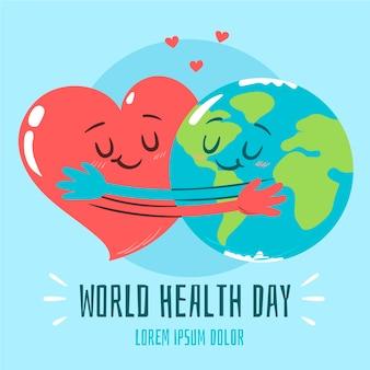 Hand getekend achtergrond wereld gezondheid dag