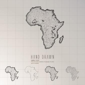 Hand getekend afrika kaart.