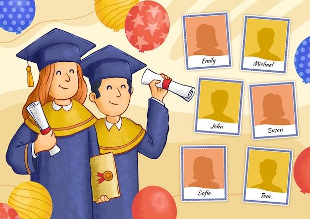 Hand getekend afstuderen jaarboek illustratie
