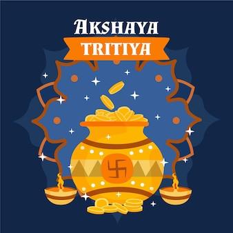 Hand getekend akshaya tritiya illustratie