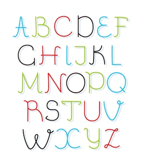 Hand getekend alfabet hoofdletters lettertype