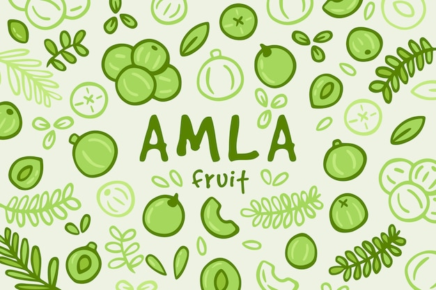 Hand getekend amla fruit achtergrond