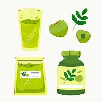 Hand getekend amla fruit elementen collectie Gratis Vector