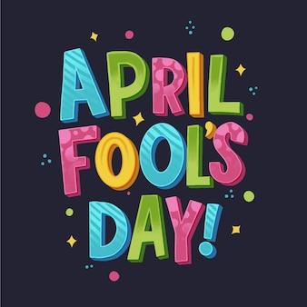 Hand getekend april dwazen dag belettering