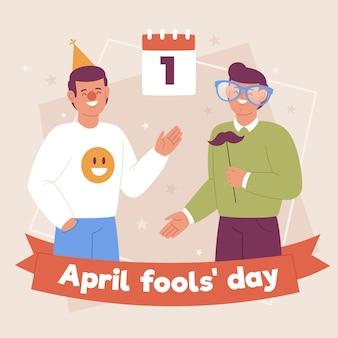 Hand getekend april dwazen dag illustratie