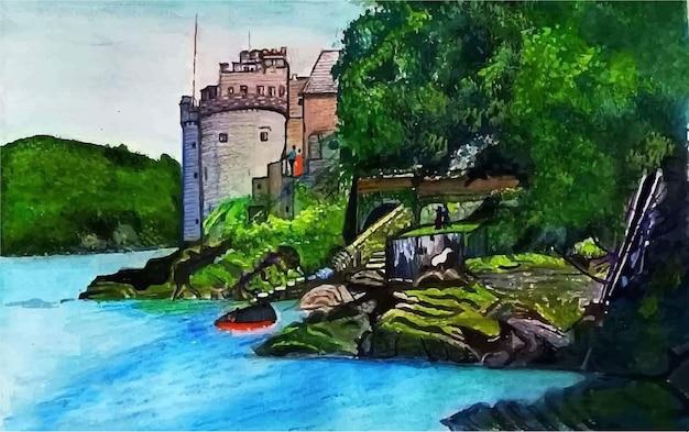 Hand getekend aquarel beroemde vallei landschap illustratie