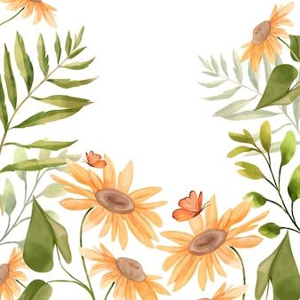 Hand getekend aquarel bloemen achtergrond