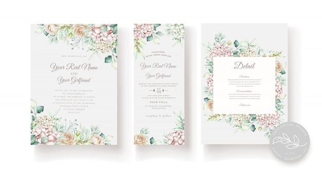 Hand getekend aquarel bloemen bruiloft uitnodiging kaartsjabloon