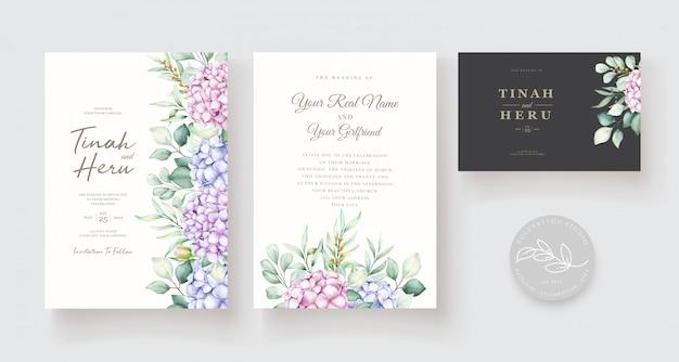 Hand getekend aquarel bloemen uitnodiging kaartsjabloon