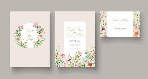 Hand getekend aquarel bloemen uitnodigingskaart