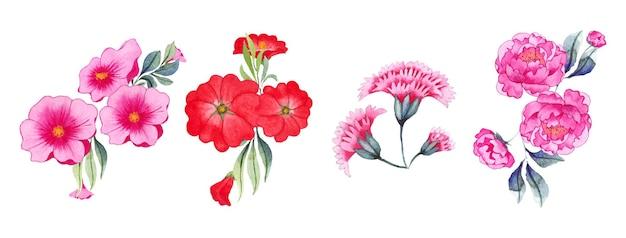 Hand getekend aquarel bloemsierkunst set