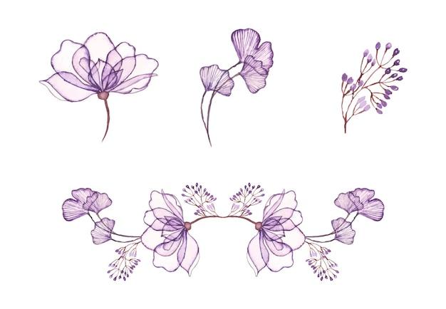 Hand getekend aquarel bloemsierkunst