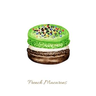 Hand getekend aquarel franse macaron cake. groen fruit gebak dessert geïsoleerde kleurrijke munt pistache macaroon koekjes, zoet versierd met vanille-chocolade