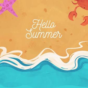 Hand getekend aquarel hallo zomer achtergrond