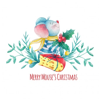 Hand getekend aquarel kerstmuis met decoraties en kaas