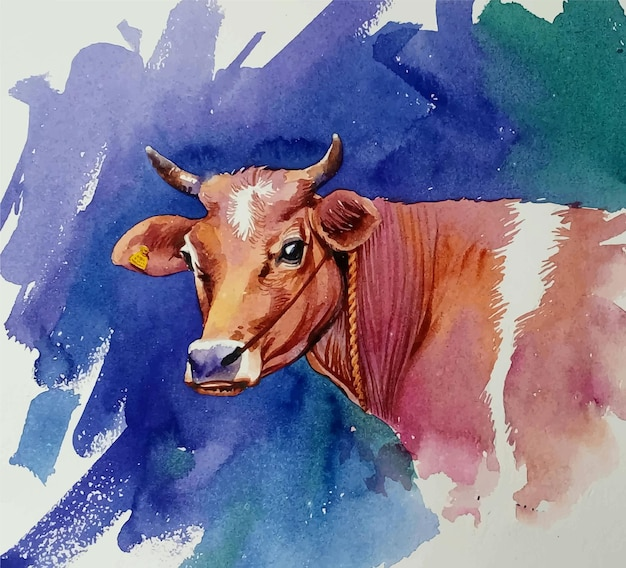 Hand getekend aquarel koe met hoorns illustratie